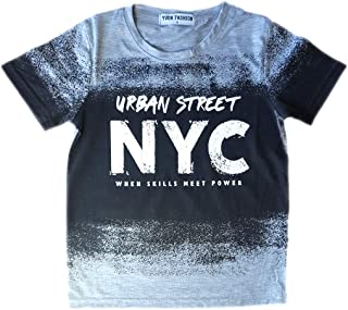 Aelstores Boys Short Sleeved Urban T-Shirt New Kids Urban NYC Brooklyn Summer Tee Tops Ages 3-14 Years