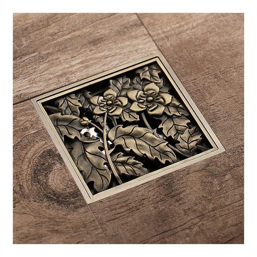 体系的にネコメルボルンバスルームキット 床排水美しい花と葉のパターン彫刻されたアート排水バスルームシャワー脱臭タイプシャワー排水クラシック真鍮カバー