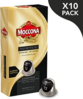 Moccona Coffee Ristretto - Intensity 12 - 100 Aluminium Capsules Compatible with Nespresso®* Machines (10x10 Pods Pack)