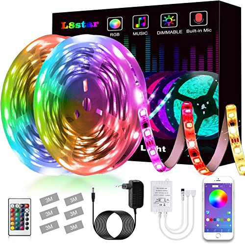Tiras LED,L8star Luz de Tira LED Smart 5050 Control APP, Sync con Música Multicolor, Kit de Luces LED Funciona Luces ...
