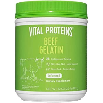 Vital Proteins Beef Gelatin Powder, Pasture-Raised & Grass-Fed Beef Collagen Protein Supplement with Proline & Hydroxyproline, Non-GMO, Gluten & Dairy & Free, Whole30 Approved, Paleo friendly - 32 oz