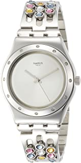 Swatch Sparklance Silver Dial Stainless Steel Ladies Watch YLS196G