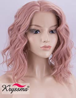 K'ryssma Short Bob Lace Front Wigs Wavy, Rose Gold Synthetic Wigs for Women Half Hand Tied Peach Pink Lace Wig with Side Parting Heat Resistant Christmas Wig