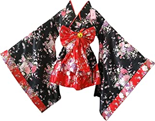 Women Cherry Blossoms Anime Cosplay Lolita Dress Japanese Kimono Costume Dresses Clothes