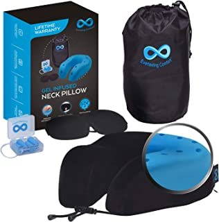 Everlasting Comfort 100% Memory Foam Travel Neck Pillow, Gel Infused & Ventilated, Airplane Accessory Kit with Sleep Mask ...