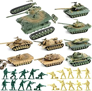 WW2 Army Tank and Army Men Toys Playset,8 Take Apart Military Vehicles with German/US/Soviet Tanks Models and 20 Toy Soldiers for Kids Boys