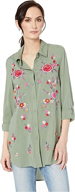 Challis Roll Up Long Sleeve Embroidered Shirt
