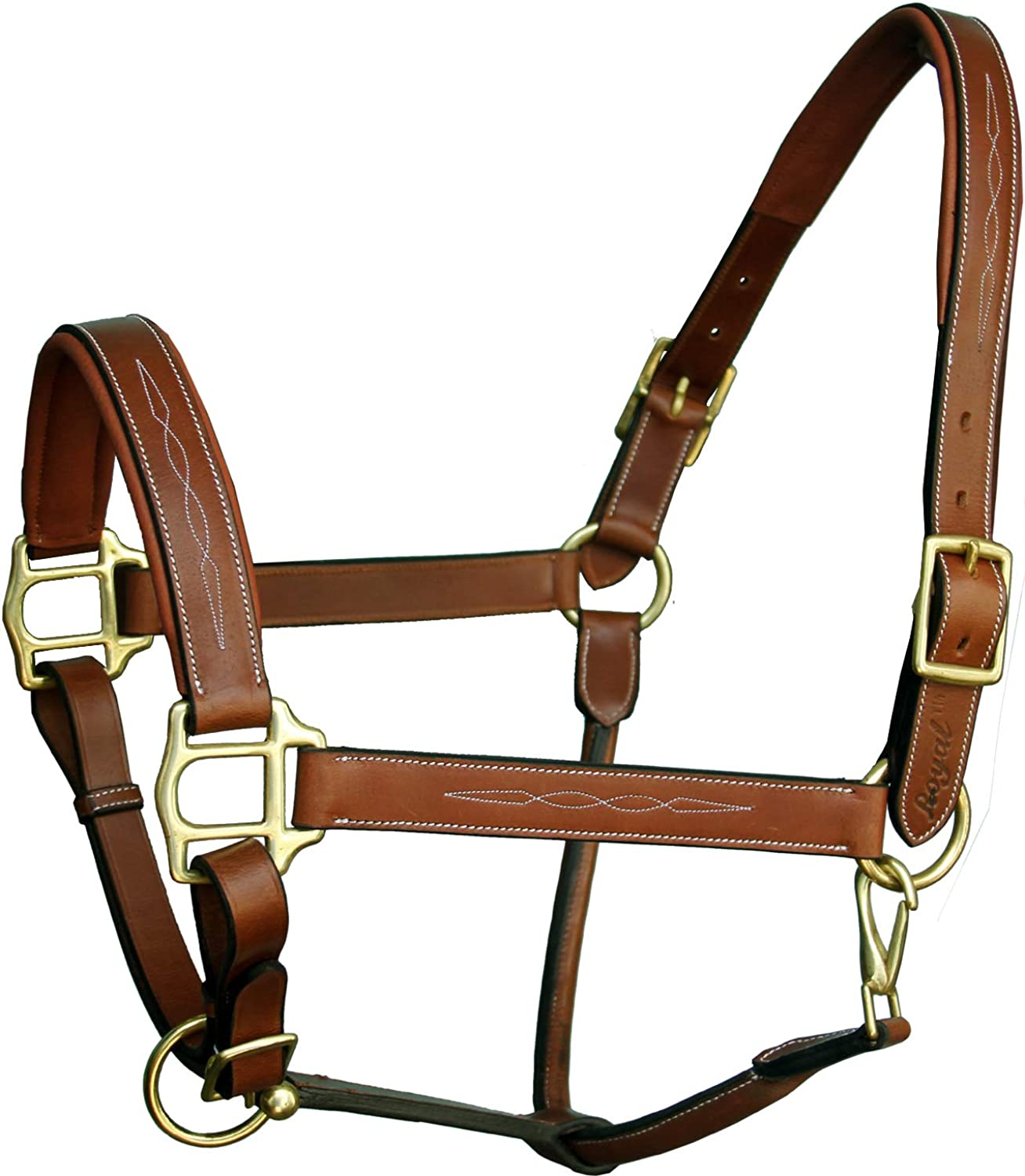 Exion Six Fancy Padded Halter and Brass Buckles   Equestrian Show Jumping Padded Halter   English Horse Riding Premium Tack