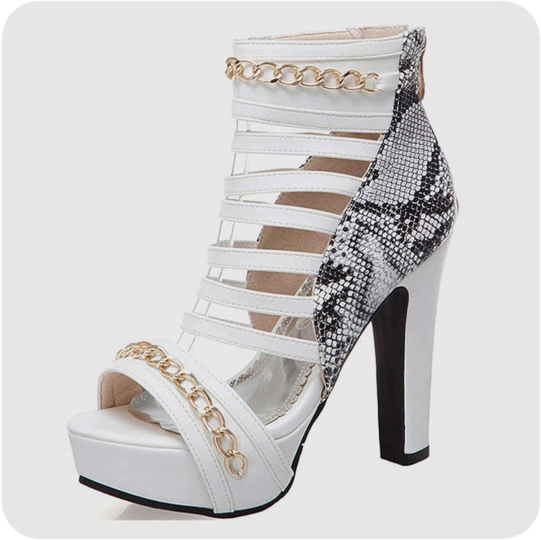 Jifnhtrs Plus Size 34-50 Metal Decoration Zip High Heels Platform shoes Woman Summer Sandals