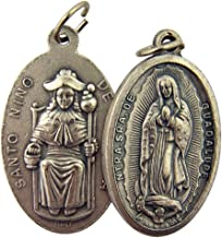 Religious Gifts Silver Toned Base Our Lady of Guadalupe Santo Nino de Atocha Two Sided Medal Pendant, 1 3/8 Inch