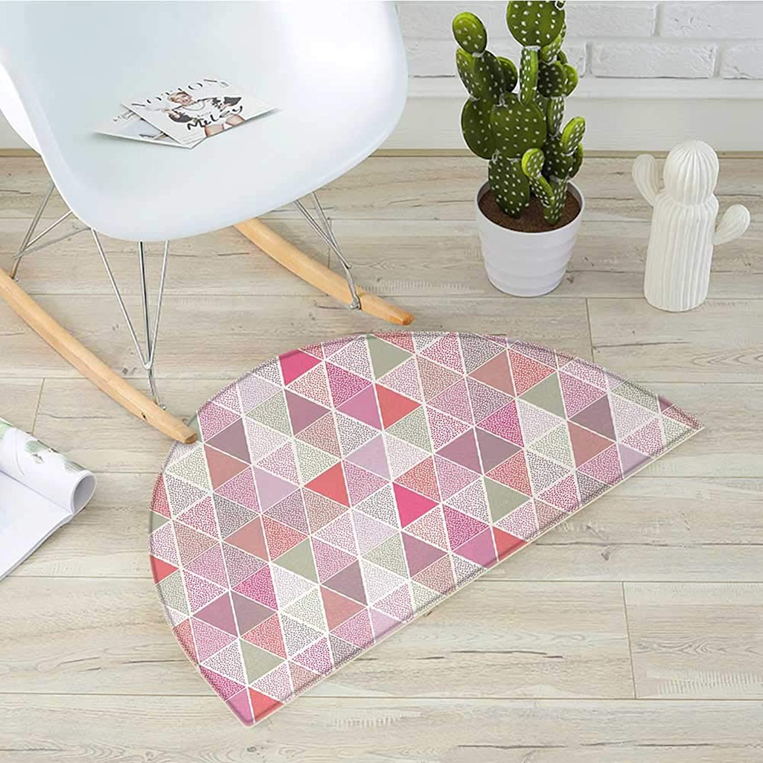 Peach Semicircle Doormat colorful Geometric Design Triangles with Polka Dots Octagon Shape Pattern Triangular Halfmoon doormats H 31.5  xD 47.2  Multicolor