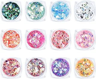 Ownest 12 Colors Holographic Chunky Glitter Gel Set, Christmas Party Makeup Face Body Eye Lips Hair Nail Cosmetic Festival...