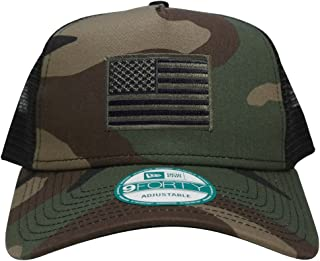 New Era 9FORTY 5 Panel USA Flag Patch Snapback Trucker Cap - CAMO