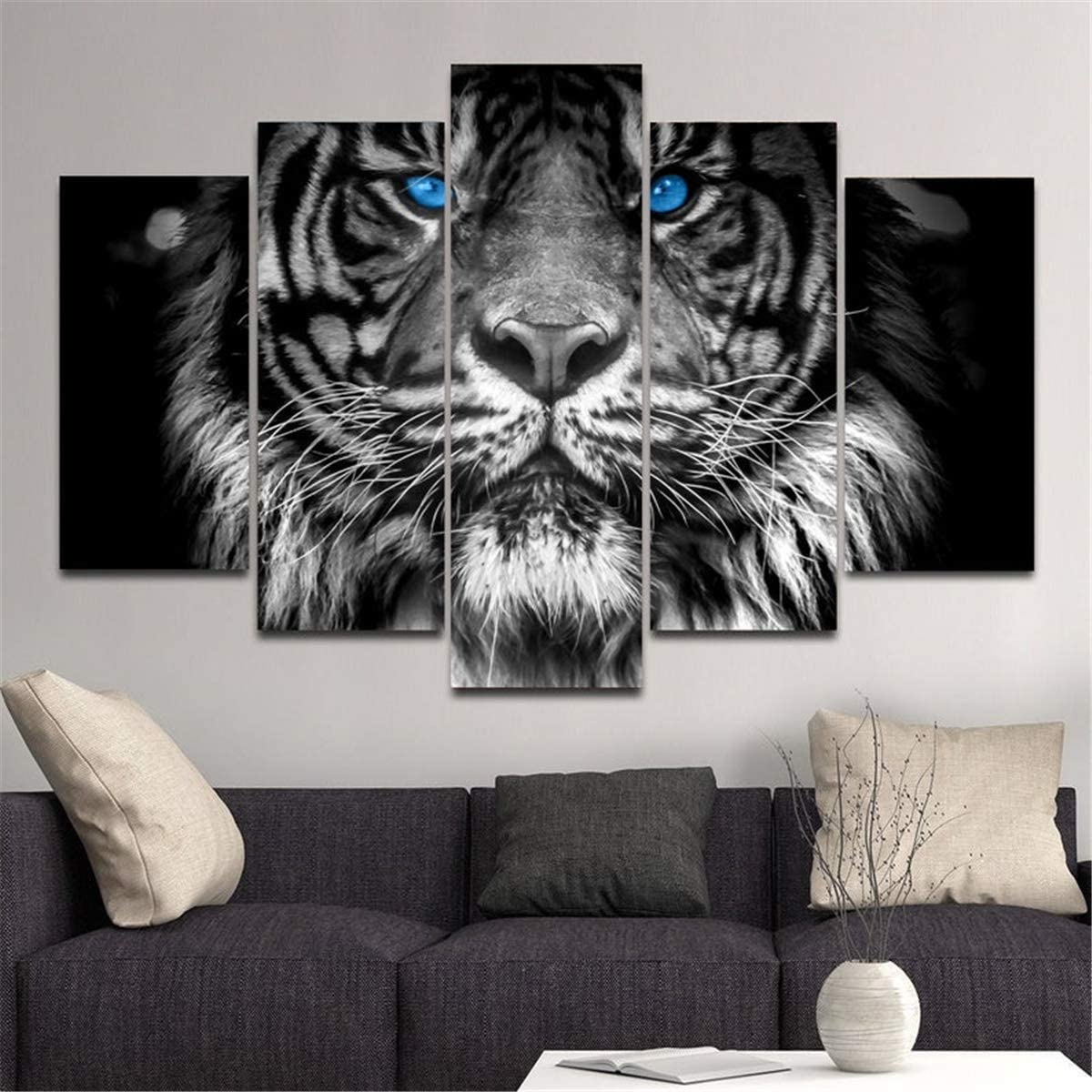 Amazon Com Jesc 5 Panels Canvas Wall Art Blue Eyed Tiger Animal Painting Black White Poster For Decor Men Living Room Lover Gift Bedroom Stretched And Framed Ready To Hang