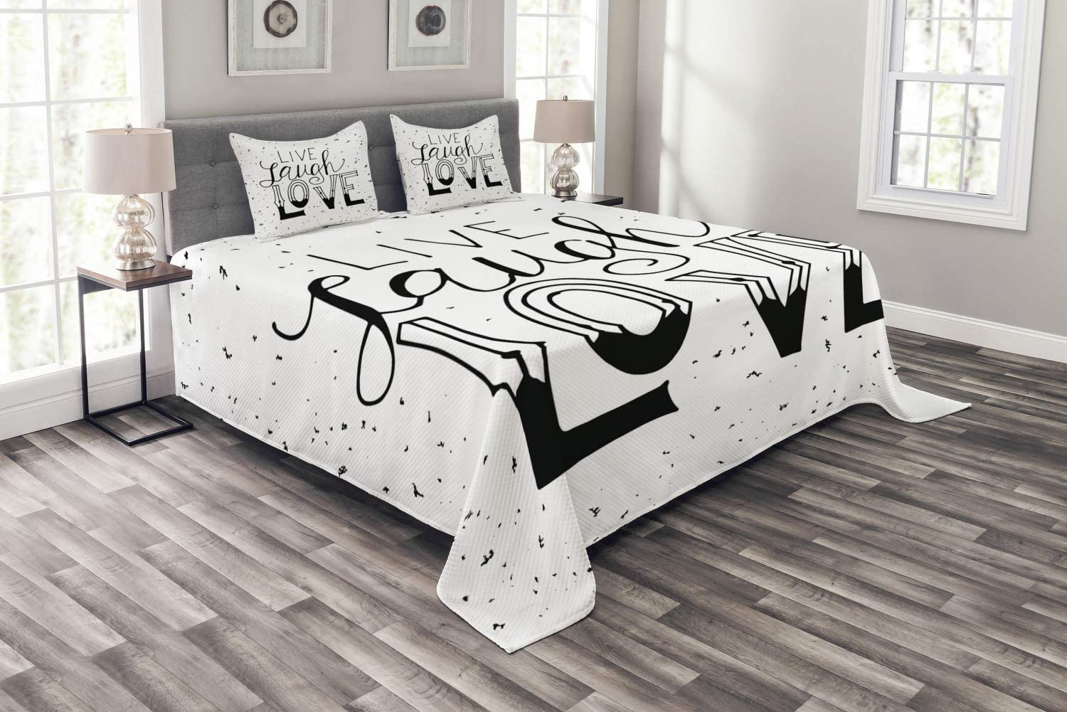 Ambesonne Live Laugh Love Bedspread Max 54% OFF Typo Hand Drawn Words Style New mail order