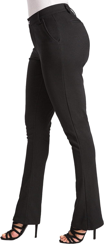 Poetic Justice Curvy Women's Black Ponte Faux Slit Classic Bootcut Casual Pant
