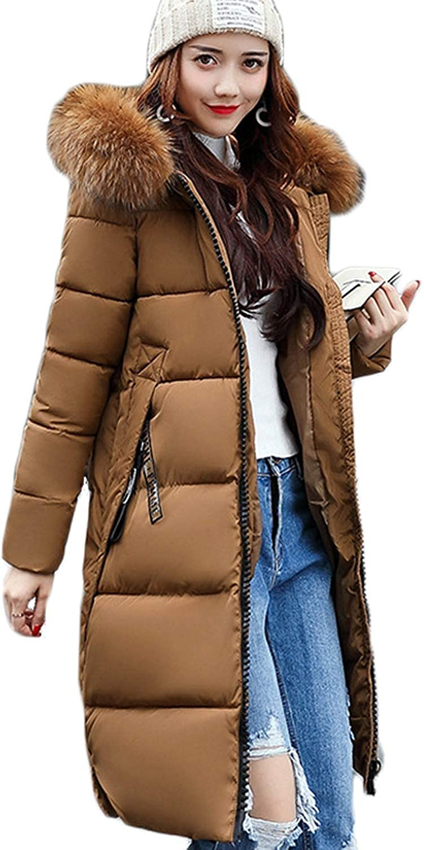 Jifnhtrs Warm Fur Parkas Long Winter Jacket Women Thicken Slim Jacket Winter Women Hooded Coat,Brown,L