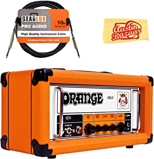 Orange OR15 Guitar Amplifier Head Bundle with Instrument Cable and Austin Bazaar Polishing Cloth