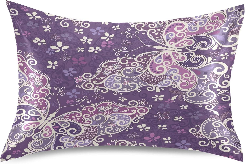 Dalzium Pale Purple Color Year-end annual account Satin Pillowcase and Year-end annual account Hair Bu for Skin
