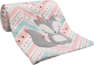 Lambs & Ivy Little Spirit Coral/White/Blue Chevron Fox Luxury Baby Blanket