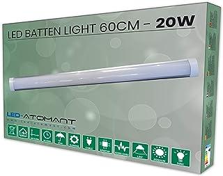 Lampara Luminaria Led 60 cm 20w. Color Blanco frio (6500K). Tubo led integrado T8. 1700 Lumenes. Regleta led slim. A++