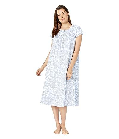 Eileen West Cotton Jersey Knit Short Sleeve Ballet Nightgown (White Ground Daisies) Women