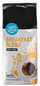 Amazon Brand - Happy Belly Breakfast Blend Ground Coffee, Light Roast, 32 Ounce