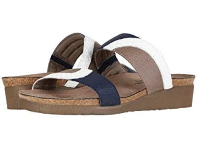 Naot Frankie (White Diamond Leather/Shiny Blue Elastic/Khaki Patina Elastic) Women