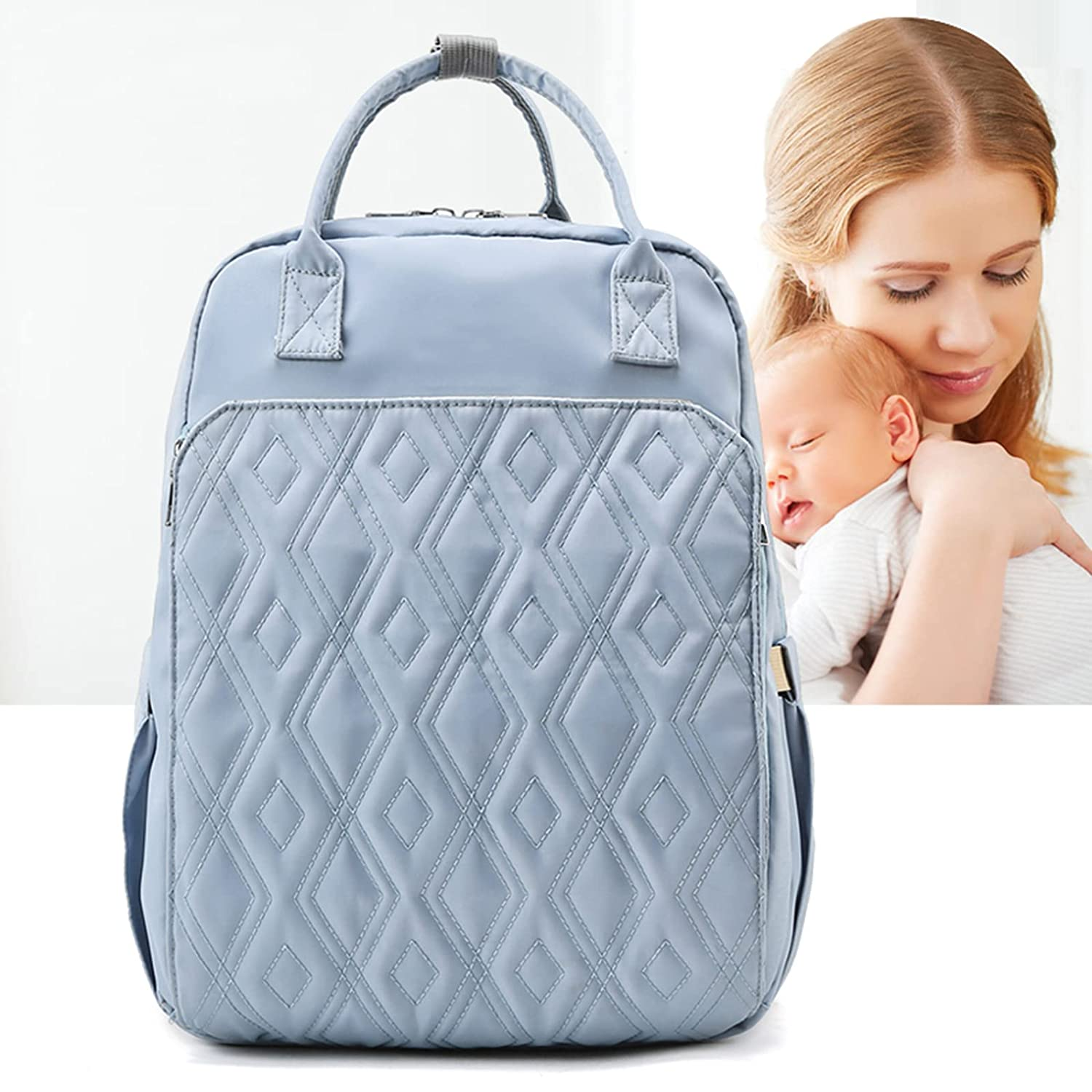 Diaper Bag Backpack with Diaper Changing Station, Multifunctional Travel Backpack for Maternity and Babies Out, Portable Nappy Bags, Boys&Girls,Large Capacity, Waterproof. Light Blue.
