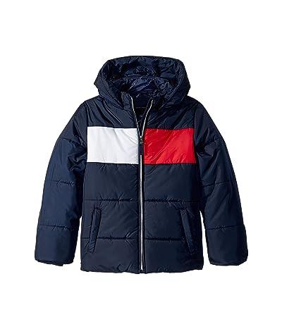 Tommy Hilfiger Kids Flag Logo Puffer Jacket (Big Kids) (Swim Navy) Girl
