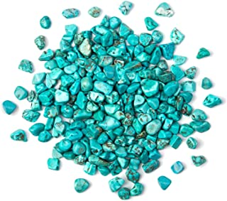 Arswin Turquoise Crushed Stone Bulk Small Tumbled Chips Crystal Healing Reiki for Outdoor Indoor Home Making Decoration, Fish Tank, Vase Fillers, Succulent Pot Decor, 1lb 0.3-0.5