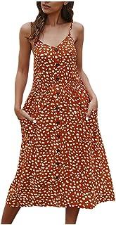 VEMOW Faldas Midi Vestido Largo Casual con botón Abotonado sin Mangas, Vestido Suelto de Fiesta Informal para Mujer