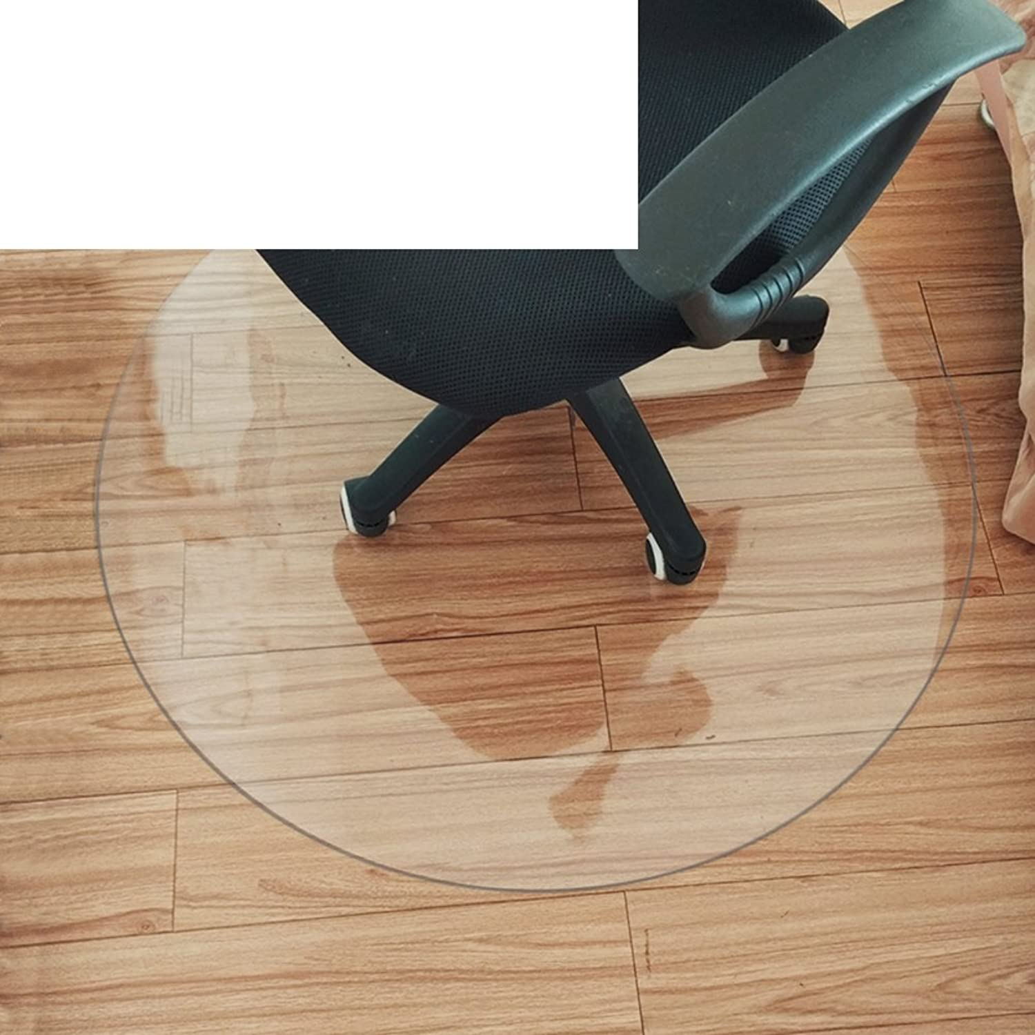 Non-Slip Transparent mat Plastic Flooring mat Wood Floor Predector Office Computer Chair mat PVC Round Ground mat-B 100x100cm(39x39inch)