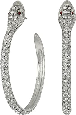 Kenneth Jay Lane - Silver/Crystal Pave Snake Hoop Pierced Earrings