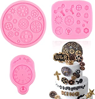 Mujiang 3-Piece Steampunk Gear Silicone Mold, Clock Wheel Gear Soft Candy Mold Chocolate Candy Mold Cake Decoration