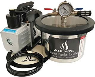 ABLAZE Stainless Steel Vacuum Degassing Chamber and 3 CFM Single Stage Pump Kit (1.5 Gallon)