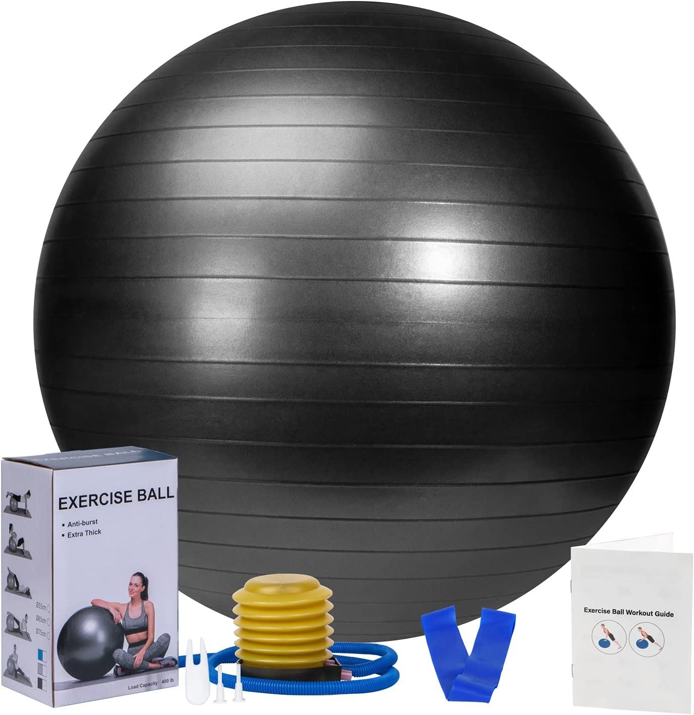 Large Exercise Bargain Ball 65cm with Pump Band Foot Birth Seattle Mall Resistance