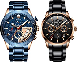CRRJU Watches for Mens Fashion Business Quartz Analog Auto Date Men's Watch Blue Stainless Steel Band Waterproof Chronograph Wrist Watch for Men