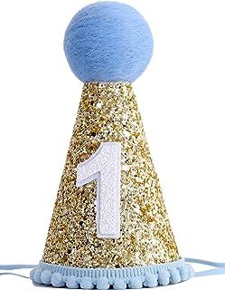 1st Birthday Crown Hat for Baby - First Birthday Party Decor for Baby Show,Birthday Crown Cap for Baby (LIGHT BLUE)