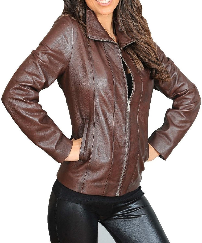 Zafy Leather Women's Leather Jackets Dark Brown B34_