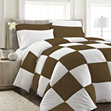 Crafts Linen 3pc Duvet Cover Set Full/Queen Size in Grid Pattern - Taupe and White Checkered Design Ultra Soft 600 TC 3-Piece Quilt Cover Scandinavian Midcentury Modern Print 100% Cotton Solid