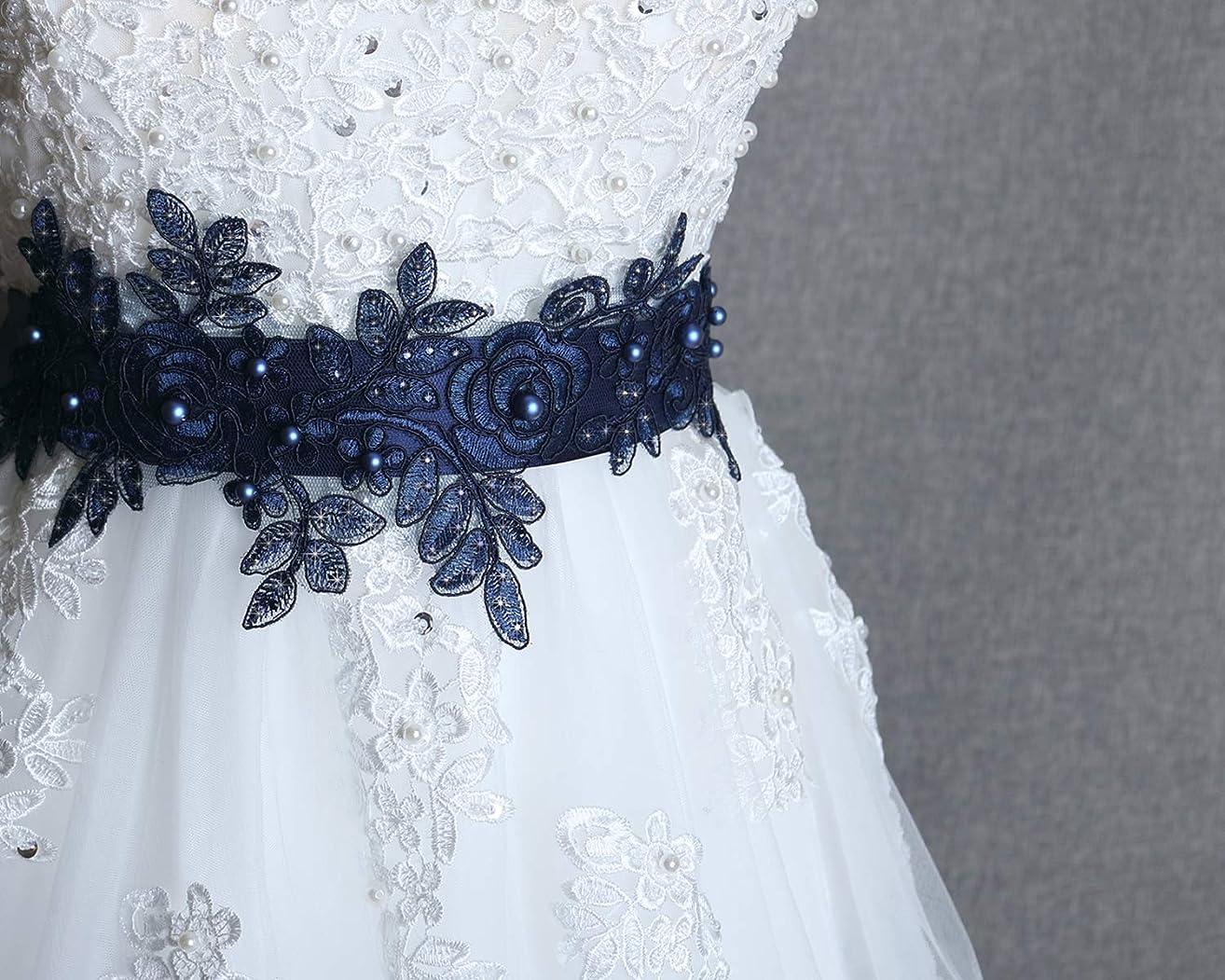 Navy sash belt, Bridal blue sash, Wedding dress sash, Swarovski pearl belt, Wedding navy rhinestone sash, Prom dress belt, Flower girl sash
