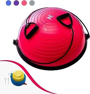 Z ZELUS 58CM Pelota de Equilibrio Bola de Yoga con Bandas de Resistencia Pelota de Fitness con Bomba de Pie para Ejercicios de Entrenamiento de Fuerza, Yoga, Fitness