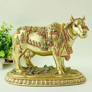 """Bangbangda Hindu God Nandi Cow Statues- 6.5"""" Height Resin Indian God"""