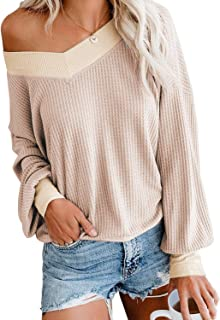 Maegawa Women's Long Sleeve T Shirts Loose V Neck Waffle Knit Tops Sweater Off Shoulder Pullover Sweater