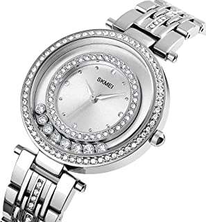 SKMEI Women's Watches for Ladies Female Luxury Crystal Diamond Iced Rose Gold/Silver Waterproof Fashion Watches Stainless ...