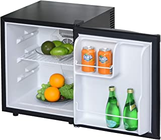 HOMCOM Mini Frigorífico Mini Bar Volumen 50 L Mini Nevera con Estante Extraíble Ajustable LED Ruido Mínimo de Eficiencia E...