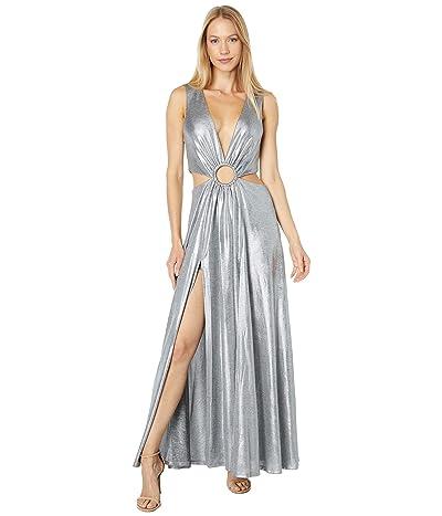 Bebe Cutout Ring Detail Metallic Maxi Dress