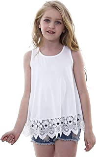 Cute Girls Clothes Tops Lace White Tee Top Sleeveless Camis Loose Fitting Outerwear Tunic Shirts Blouses for Kids, Size 10...