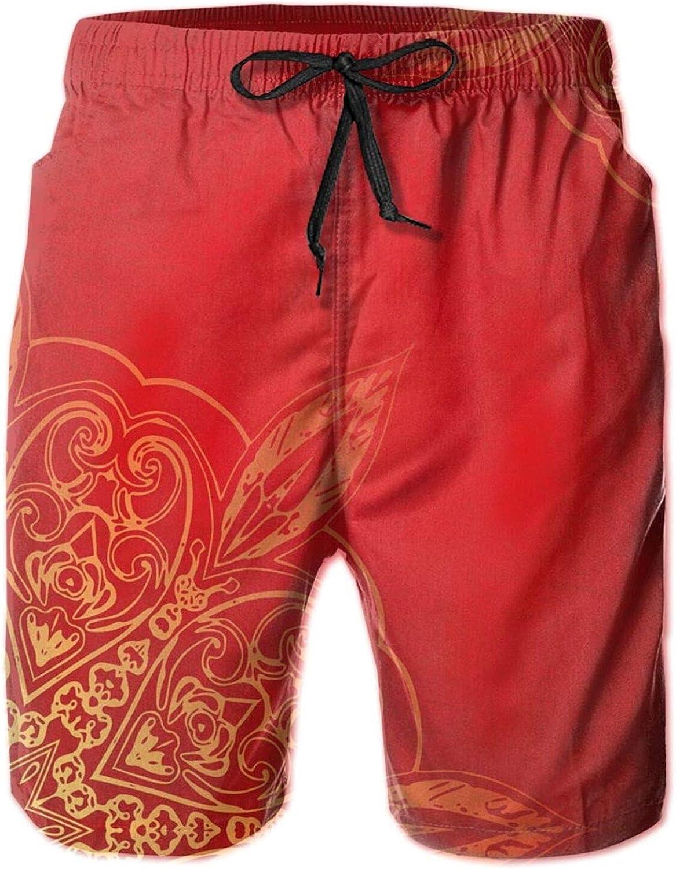 Romantic Vintage Persian Traditional Soft Tone Shapes and Designs Mens Swim Shorts Casual Workout Short Pants Drawstring Beach Shorts,XXL